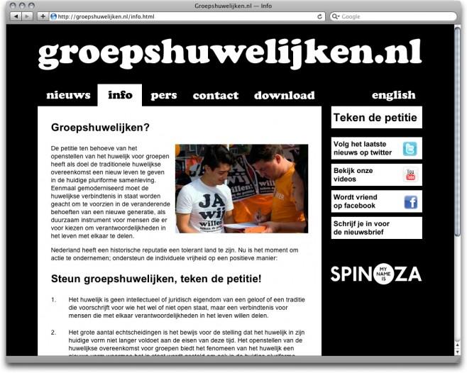 www.groepshuwelijken.nl, news page with the artist