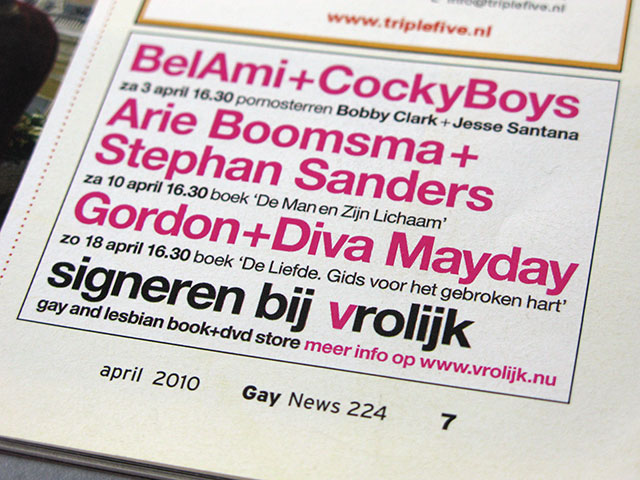 advertentie gay news gordon mayday arie boomsma stephan sanders